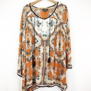 Angie Orange Floral Scoop Neck Tunic Bell Sleves